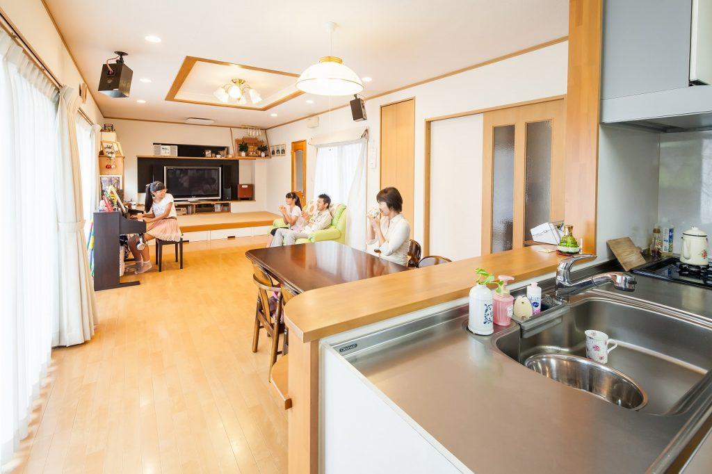 岐阜で建てた注文住宅のリビングダイニング