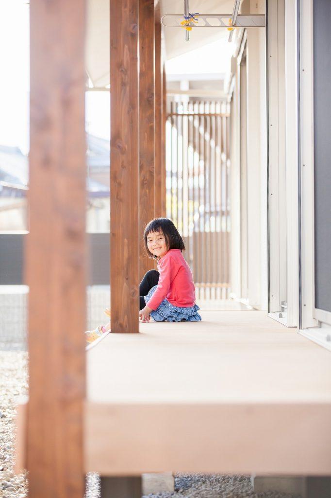 岐阜で建てた注文住宅のウッドデッキ