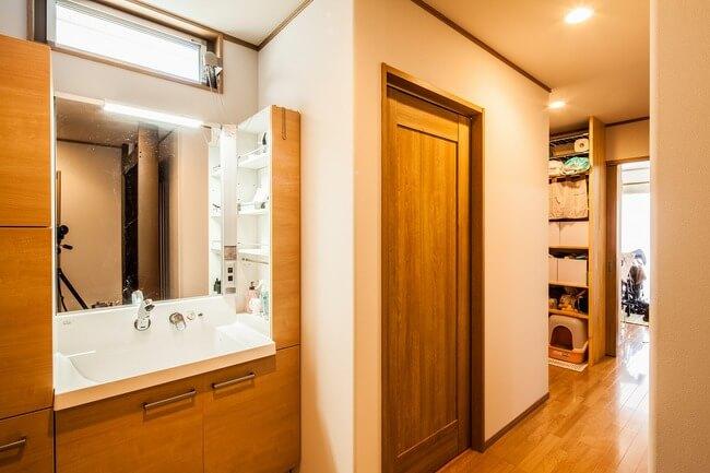 岐阜で建てた注文住宅の洗面化粧台