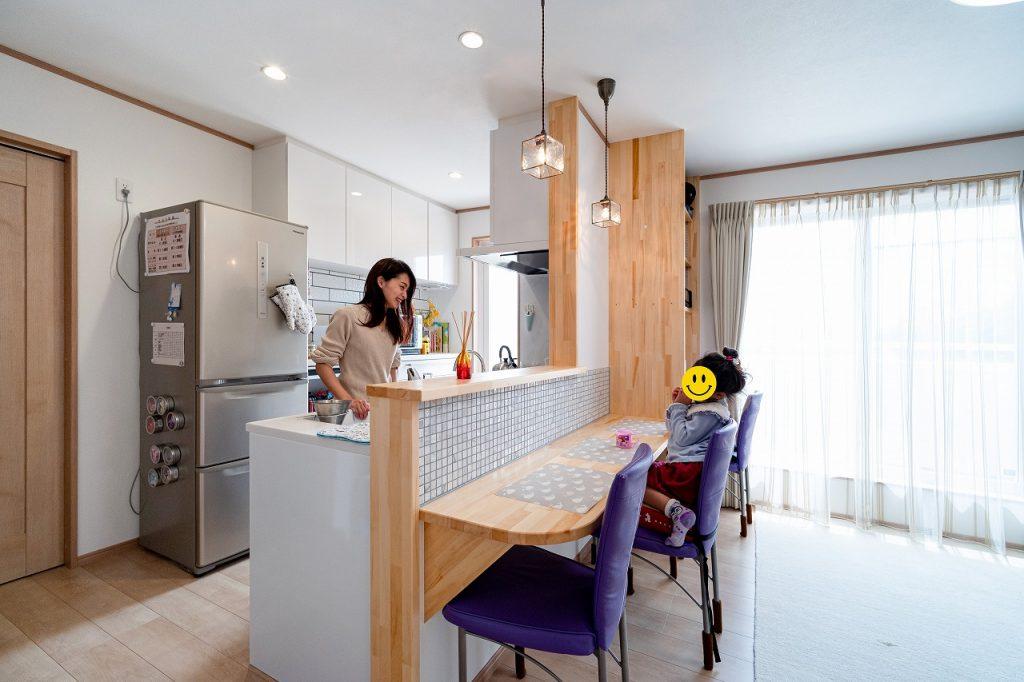 羽島市で建てた注文住宅のカウンターキッチン